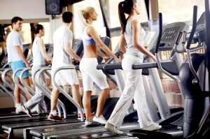 Gym users on treadmill
